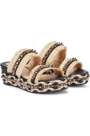 Christian Louboutin Dame Wedges - Embellished raffia wedge sandals