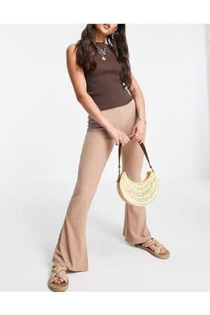 ONLY Ribbed flared trousers co-ord in mocha-Brown