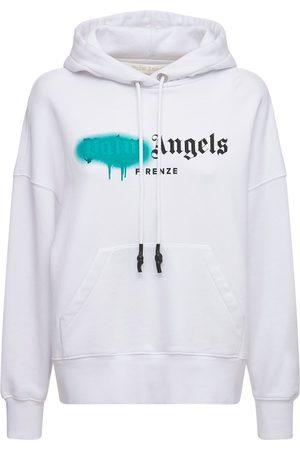 Palm Angels Dame Hettegensere - Lvr Exclusive Spray Logo Cotton Hoodie