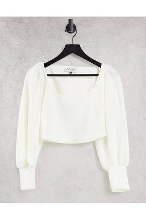 Closet Square neck crepe top co-ord in cream-White