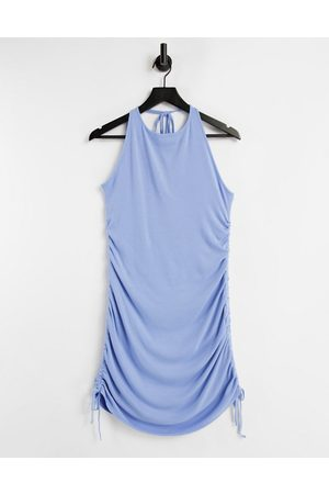 Missyempire Ruched ribbed halterneck mini dress in blue