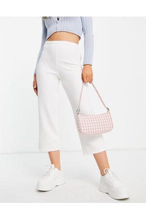 Closet High waist crepe wide leg trouser co-ord in cream-White
