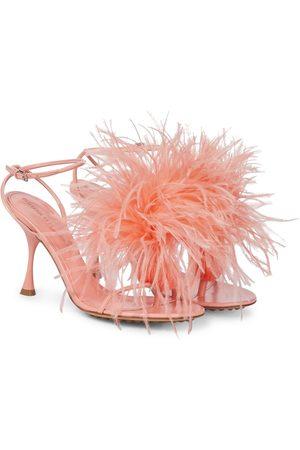 Bottega Veneta Dot feather-trimmed leather sandals