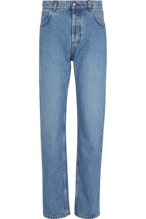Loewe Anagram leather-trimmed tapered jeans