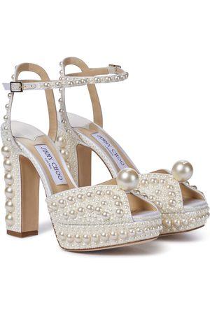 Jimmy Choo Saracria 120 embellished satin sandals