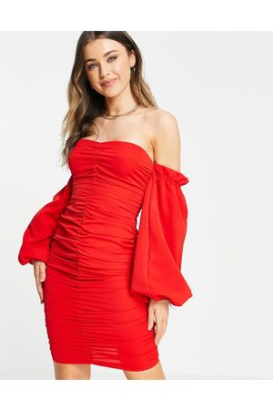 In The Style X Jac Jossa ruched off shoulder mini dress in red