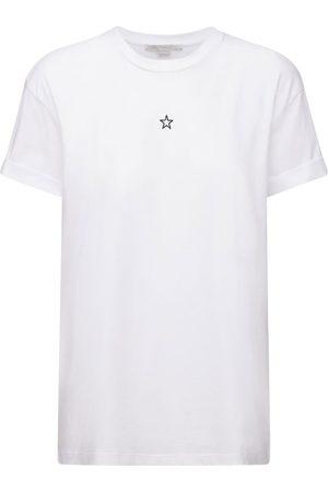 Stella McCartney Dame Kortermede - Star Embroidered Cotton Jersey T-shirt