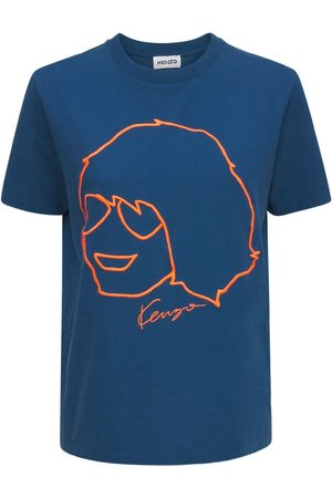 Kenzo Dame Kortermede - Printed Organic Cotton Loose T-shirt