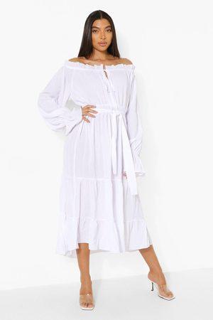 Boohoo Tall Off Shoulder Tiered Midi Smock Dress