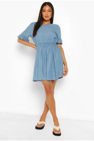 Boohoo Petite Frill Sleeve Denim Dress