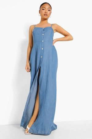 Boohoo Petite Button Front Split Denim Maxi Dress