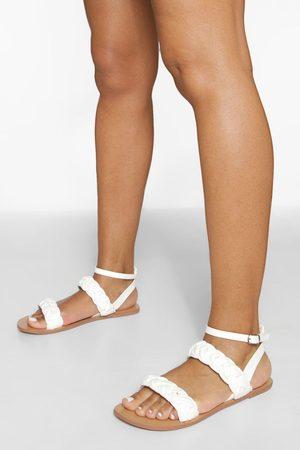 Boohoo Dame Flip flops - Wide Fit Double Plait Sandal