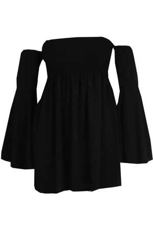 Boohoo Plus Shirred Off Shoulder Wide Sleeve Shift Dress