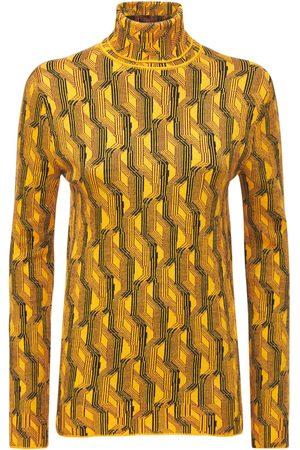 Prada Printed Wool Knit Turtleneck Sweater