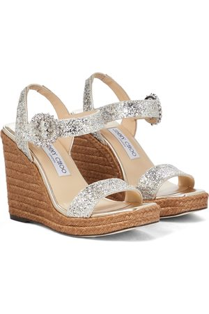 Jimmy Choo Mirabelle 110 glitter wedge sandals