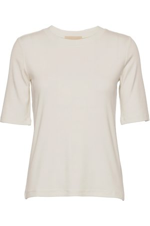 A Part Of The Art Basic Tee T-shirts & Tops Long-sleeved Creme