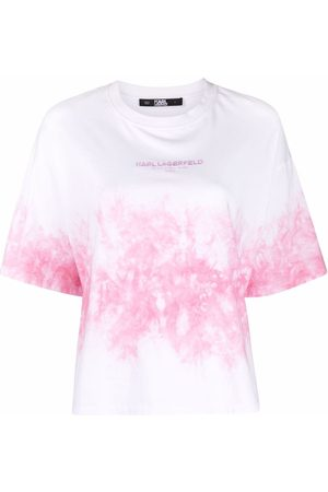 Karl Lagerfeld Dame Kortermede - Tie-dye cotton T-shirt