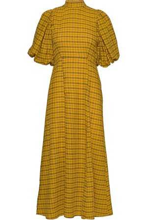 SELECTED Slfcheckie 2/4 Ankle Dress G Maxikjole Festkjole Gul