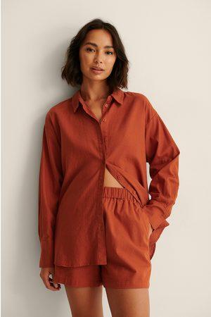 NA-KD Dame Bluser - Oversized Skjorte I Linblanding