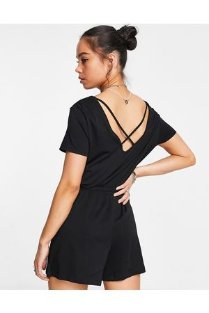 Only Organic cotton jersey t-shirt playsuit in black