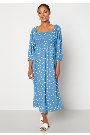 VERO MODA Ginna 3/4 Smock Square Dress Azure Blue AOP White XL