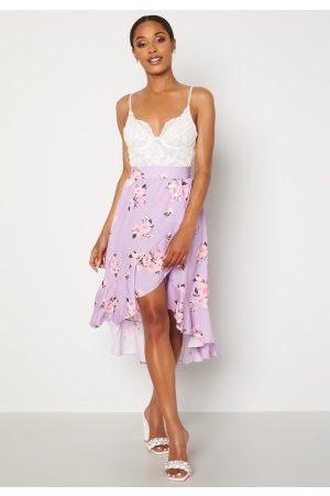 John Zack Wrap Frill Midi Skirt Printed Lilac Print XS (UK8)