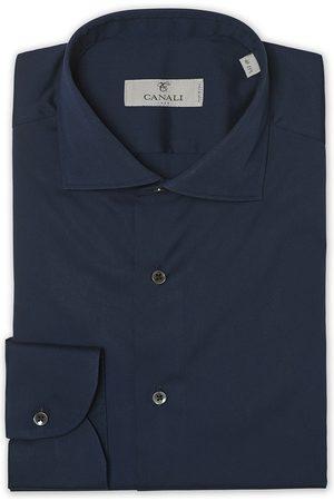 CANALI Slim Fit Cut Away Stretch Shirt Navy