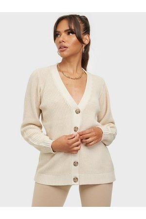 SELECTED Dame Strikkegensere - Slfemmy Ls Knit Button Cardigan B Sandshell