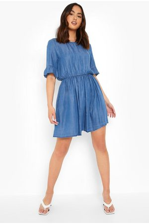 Boohoo Dame Bodycon kjoler - Frill Sleeve Denim Dress