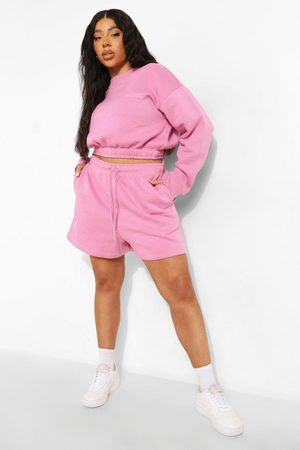 Boohoo Plus Cropped Sweater Short Tracksuit