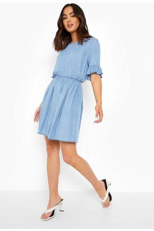 Boohoo Frill Sleeve Denim Dress