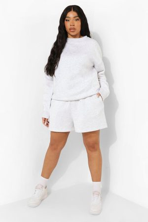 Boohoo Dame Loungewear - Plus Woman Embroidered Sweat Short Tracksuit