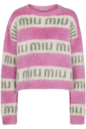 Miu Miu Oversized logo mohair-blend sweater