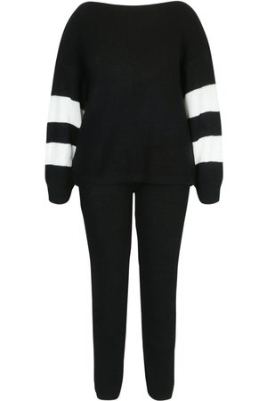 Boohoo Plus Balloon Sleeve Stripe Knit Loungewear Set