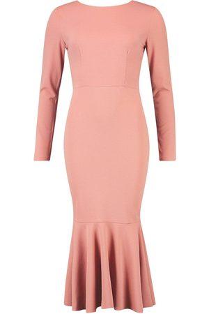 Boohoo Dame Maxikjoler - Fishtail Long Sleeve Midaxi Dress