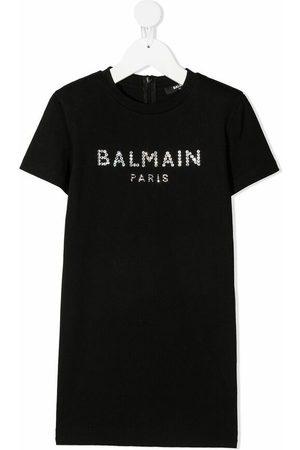 Balmain Crystal-logo embellished t-shirt dress