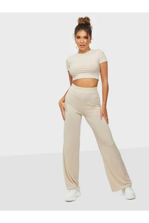 NLY Dame Jumpsuits - Ribbed Cropped Set Creme