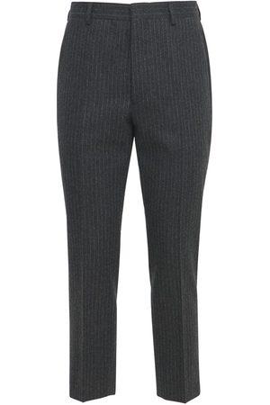 Prada 18cm Pinstripe Flannel Wool Pants