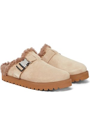Moncler Mon suede and faux shearling slippers