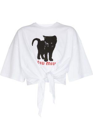 Miu Miu Cat cotton jersey T-shirt