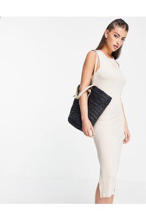 VERO MODA Aware sleeveless twist back midi dress in -Neutral