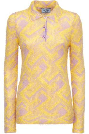 Prada Mohair Blend Knit Polo Sweater