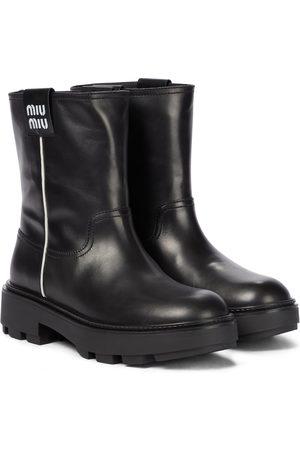 Miu Miu Leather ankle biker boots