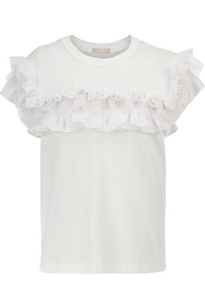 Alaïa Ruffle-trimmed cotton T-shirt