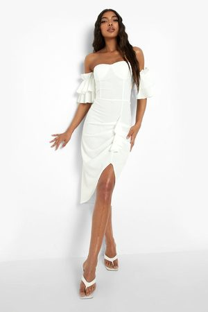 Boohoo Tall Off The Shoulder Busted Midi Dress