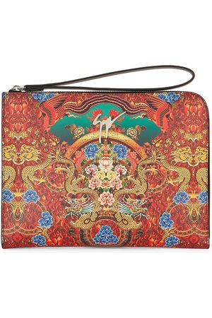 Giuseppe Zanotti Herre Clutches - Fabian oriental-print leather clutch