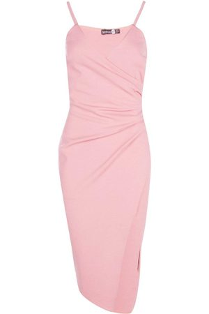 Boohoo Dame Bodycon kjoler - Strappy Wrap Pleated Bodycon Midi Dress
