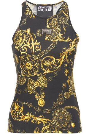 VERSACE Dame Singleter - Printed Cotton Jersey Tank Top