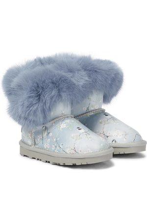 MONNALISA Fur-trimmed floral leather boots