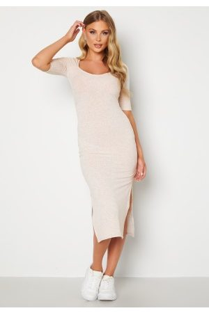BUBBLEROOM Leya rib dress Light beige XL